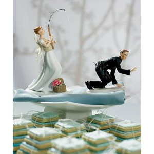 Fishing Bride Wedding Cake Topper