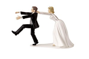 Fleeing Groom Wedding Cake Topper