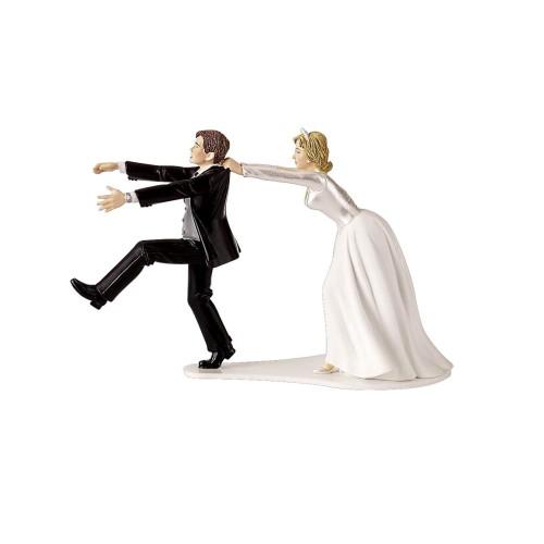 Fleeing Groom Wedding Cake Topper