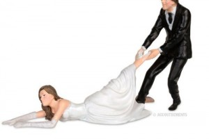 Fleeing Bride Wedding Cake Topper
